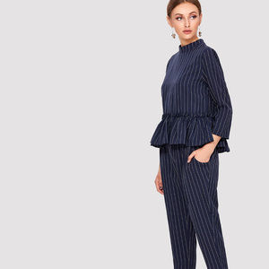 Other - Pinstripe Ruffle Hem Top And Pants